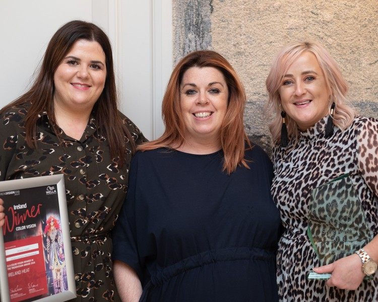 Stephanie Higgins, Sarah Mason and Roisin Hynes at Wella Trendvision in the Intercontinental Hotel, Dublin.